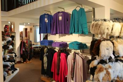 View of the inside of the Alpaca Clothing Co shop